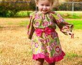 Ruffled Peasant Dress PDF Sewing Pattern  sizes 0m - 12 girls PDF Instant