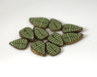 Jungle Leaf Beads, Polymer Clay Beads, Green Leaf beads 10 pieces