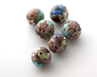 Polymer Clay Beads, Round Brown Rose Turquoise Flower Beads 6 Pieces