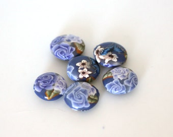 Lavender Fields Beads, Purple Polymer Clay Lentils Bead 6 pieces