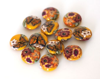 Sunshine Beads, Polymer Clay Yellow Lentil Beads, 12 pieces - Made to Order