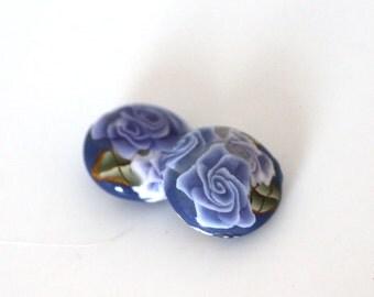 Purple Beads, Polymer Clay Beads, Lentil Beads, Lavender Fields Bead Pair