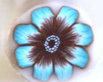 Polymer Clay Cane, Turquoise and Brown Flower Millefiore, Raw Clay