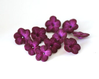 African Violet Beads, Polymer Clay Flowers, Magenta Purple Beads, Flower Beads 10 Pieces