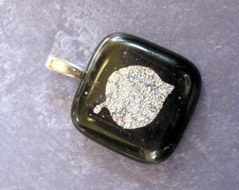 Leaf Pendant, Dichroic Leaf Pendant, Leaf Jewelry, Nature Pendant, Nature Jewelry - Silver Leaf - 3400 -2