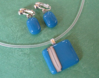 Blue Jewelry Set, Blue Striped Necklace and Clip on Earring Set, Gift for Mom, Fused Glass Jewelry on Etsy  - On My Side - 3580  -2