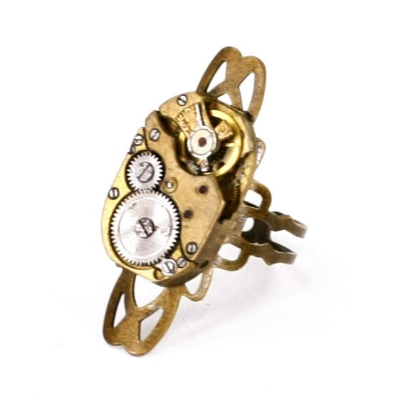 Steampunk Unisex Antiqued Gold Brass Filigree Adjustable RING with Vintage RARE Gold Watch Movement by Velvet Mechanism