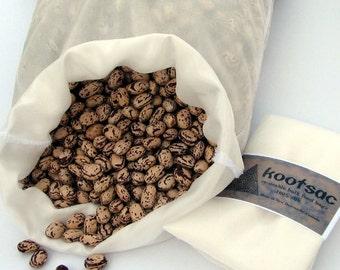 Reusable bulk food bag, biodegradable food bag, eco bag, natural silk bag, food pouch, bulk bin bag, produce bag, size large, white