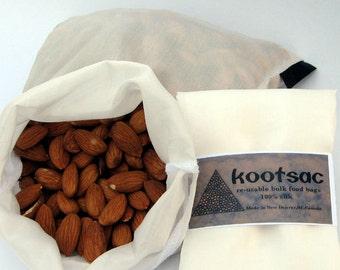 Reusable eco food bag, reusable bulk bin bag, food pouch, grain bag, legumes, nuts, natural silk bag, medium