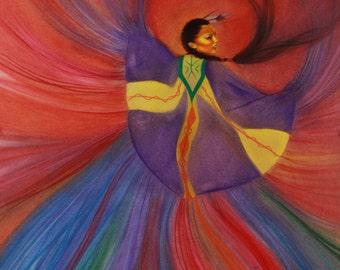 Shawl Dancer: Native American Art Painting of a girl dancing