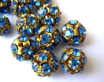 2 Vintage Swarovski beads, blue crystals in brass setting creating ball shape 10mm RARE