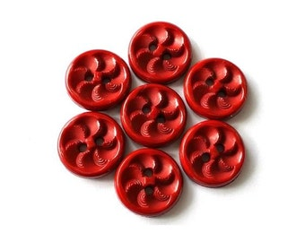 6 Vintage dark red flower buttons,15mm