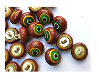 6 Vintage glass buttons brown with green circle metal shank 11mm