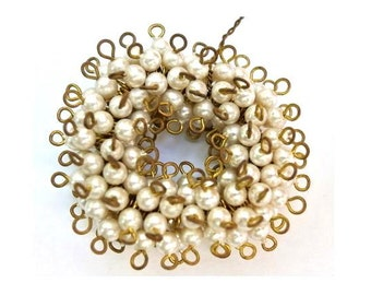 25 Vintage imitation plastic pearls connector beads 2 self loops 4mm
