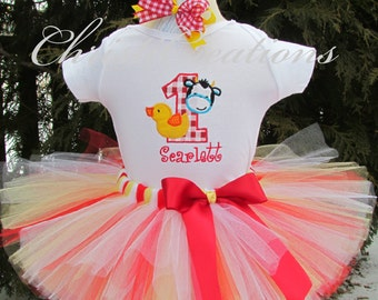 "First Birthday Tutu Outfit - ""Barnyard Bash!"" - Barnyard theme bodysuit, tutu and bow - farm theme"