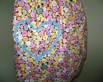 Valentine Heart Candy  Half Reversable Apron