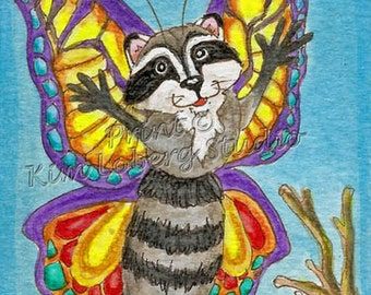 Raccoon Butterfly fantasy Insect animal creature ACEO mini art PRINT Kim Loberg Nebraska Artist hatching bug EBSQ