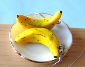 Banana Earrings, Food Jewelry, Banana Jewelry, Miniature Food