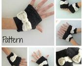 Crochet fingerless gloves mittens PDF Pattern - Romantic bow