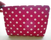 Polka Dots Bright Fuchsia Pink - Large Zippered Pouch