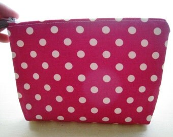 Polka Dots Bright Fuchsia Pink - Large Zippered Pouch - Ready to Ship