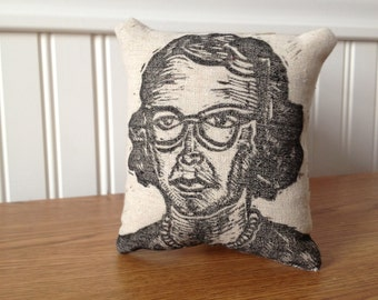 Flannery O'Connor Small Hand Printed Novelty Linen Pillow