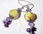 Tanzanite Garden Lampwork Earrings with Sterling Silver and Swarovski Crystals
