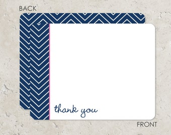 Navy and Hot Pink Chevron Flat Notecards with 2-sided printing