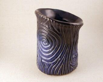Carved Stoneware Vase, Indigo and Navy Spiral Carved Cup