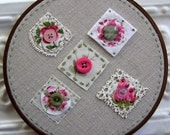 Embroidered Hoop Wall Art - Apollonia Romantic Lace and Buttons Embroidered on Linen - Nursery Art