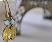 Aqua and Yellow Estate Earrings, Lever Back, Vintage Leaf Glass Rhinestone, Antiqued Brass Earrings, Bridesmaids