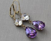 Amethyst and Clear Rhinestone Estate Lever Back Earrings, Vintage Purple Glass Rhinestone and Antiqued Brass