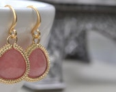 Pink Gemstone Triangle Matte Gold Earrings, French Hook Framed Synthetic Gemstone, Bridesmaid Wedding Earrings