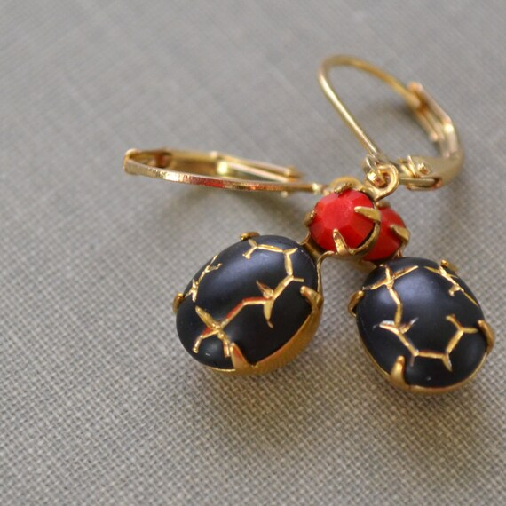 Black Gold and Red Estate Earrings, Lever Back, Jet and Cherry Vintage Brass Earrings, Crackle Glass