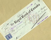 Old Bank Check from The Royal Bank of Canada with a Revenue Stamp