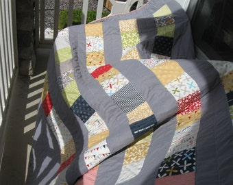 Made to Order Modern Stacked Cubes Quilt in Reunion Fabrics from Sweetwater in Four Sizes