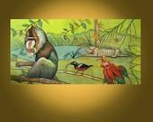 Vintage Art Painting -- African Jungle -- 24 x 48 inch by Elizabeth Graf on Etsy -- OR BEST OFFER