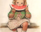 Sweet Vintage Print on Colorfast Treated Fabric Block 8x10 Cute Little Girl Eating Watermelon