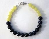 Lapis Lazuli and Lemon Jade Color-Blocked Beaded Bracelet