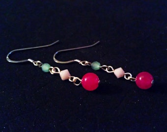 Ruby Jade, Swarovski Crystal, and Czech Glass Dangle Earrings