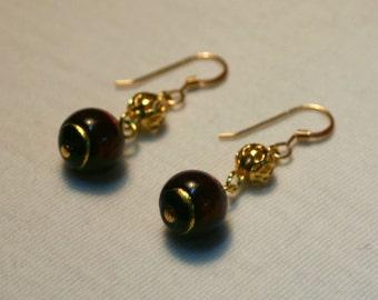 Jody Earrings - Red and Gold Venetian Glass