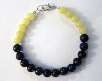 Lapis Lazuli and Lemon Jade Color-Blocked Beaded Bracelet