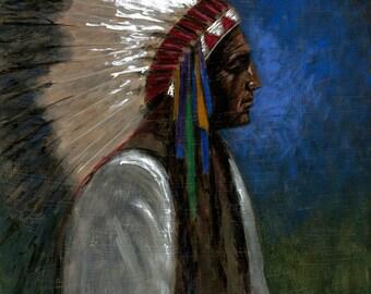 Native American Head Study - 11x14 Acrylic Painting