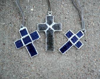 Blue Glass Cross Necklace - CR0001