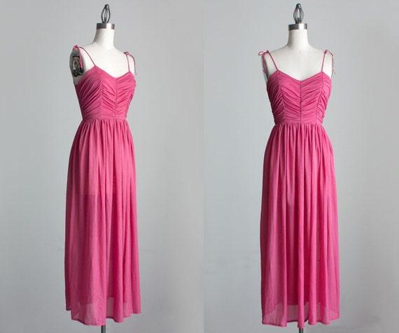 Pink Maxi Dress 1970s Vintage French Pink Evening Maxi Sun Dress