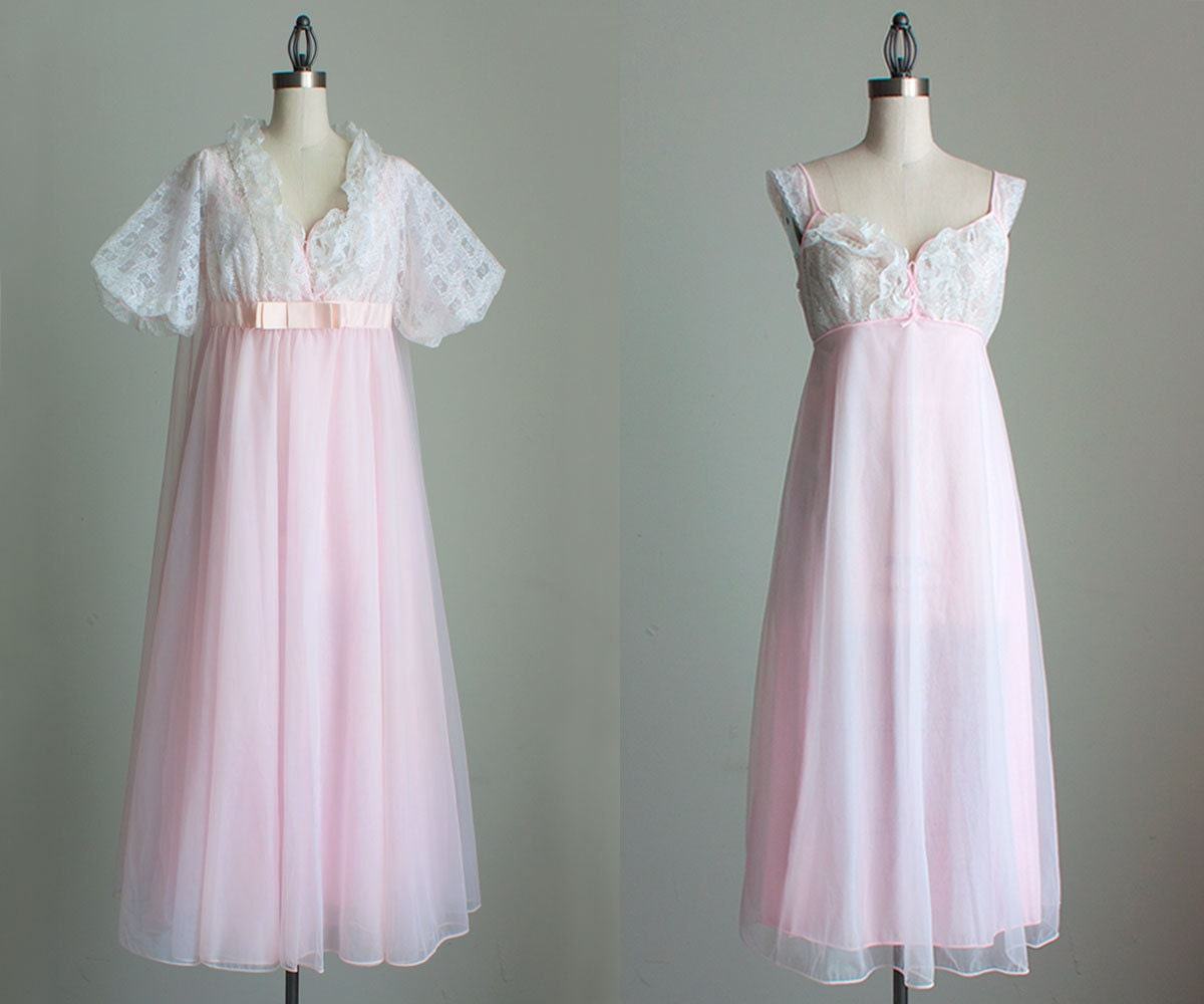 Pink Peignoir Nightgown Set 1960s Vintage Pale Pink And Ivory
