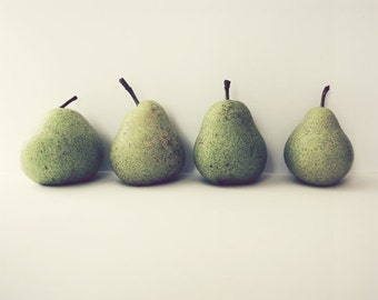 "Pear still life food photography kitchen wall art green pears fruit print  ""Take Four"""