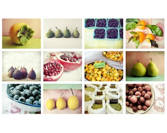 Kitchen Decor - food photography set - cooking art - colorful fruit wall art for the kitchen - set of twelve 8x10 photography prints