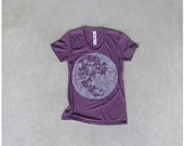 Tshirt for women. moon shirt. women t shirt. full moon on heather plum. women fashion. for her. purple and white - CLOSEOUT