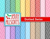 Dotted Swiss Digital Paper in Rainbow Colors - 20 sheets - Instant download